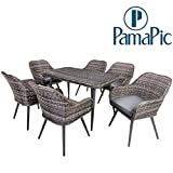 7 PCS Rattan Furniture Set, PamaPic Outdoor Wicker Sectional Seat Cushioned Sofa. Indoor Dining Table, Decoration for Patio, Garden Lawn, Indoor, Backyard, Pool. (Grey)