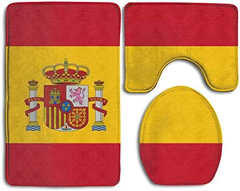 Gorgeous Socks País Bandera Nacional España 3 Piezas Juego de alfombras de baño de Franela Alfombra de Pedestal Tapa de Inodoro Tapa de baño Juego de alfombras de baño: Amazon.es: Hogar
