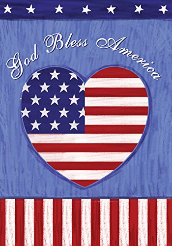 Toland Home Garden God Bless the US 12.5 x 18 Inch Decorative Patriotic Summer July 4 Garden Flag