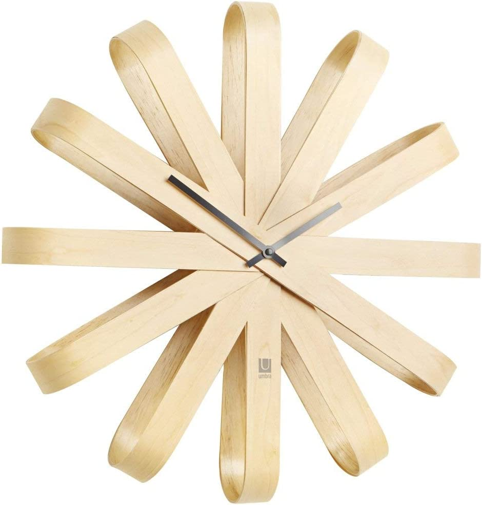 Umbra Ribbonwood Large Modern Wall Clock, Battery Operated, Silent, Non Ticking, Unique, 20