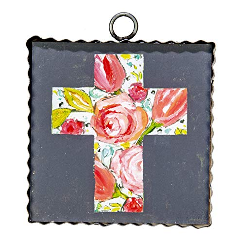 The Round Top Collection - Gallery Floral Cross Wall Art - Metal & Wood