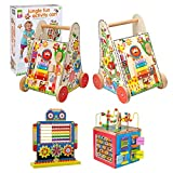 Alex Jr. Jungle Fun Activity Cart, My Busy Town Wooden Activity Cube and Count N Spin Abacus Robot, Playset, Alphabet, Matching, Sensory, Math, Counting, Numbers, Colors, Early Learning, Educational