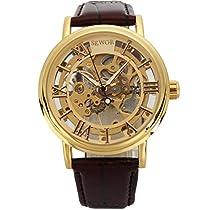 Sewor Mens Dress Mechanical Skeleton Transparent Vintage Style Leather Wrist Watch