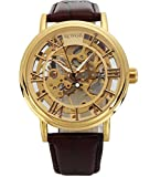 SEWOR Men's Mechanical Skeleton Transparent Vintage Style Leather Wrist Watch (Gold Case)
