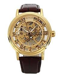 Sewor Men's Gold Mechanical Skeleton Transparent Vintage Style Maroon Leather Watch C848