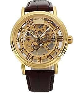 SEWOR - Reloj de pulsera mecánico transparente esqueletizado para hombre, con correa estilo vintage (Oro)
