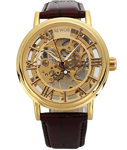 SEWOR Men's Mechanical Skeleton Transparent Vintage Style Leather Wrist Watch (GOLD) by SEWOR