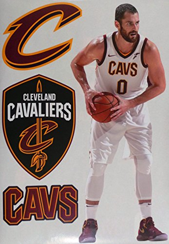 "Kevin Love FATHEAD Cleveland Cavaliers Logo Set Official NBA Vinyl Wall Graphics 16"" INCH"