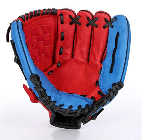 Baseball Leather Gloves Thicken Infield Pitcher Softball Child Junior Adult Full Baseball Gloves Various style gloves (Color : Red-12.5)