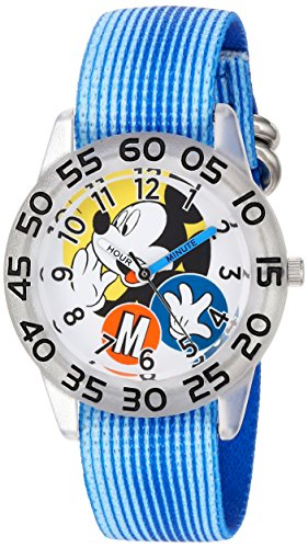 Disney Boy's 'Mickey Mouse' Quartz Plastic and Nylon Casual Watch, Color:Blue (Model: WDS000113)