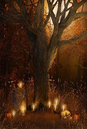 AOFOTO 6x8ft Scary Wilderness Background Gloomy Cemetery Photography Backdrop Pumpkin Candles Skull Vines Tree Moon Night Kid Girl Boy Child Portrait Autumn Halloween Photo Studio Props Wallpaper -