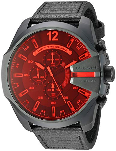 Chronograph Diesel Watch (Diesel Men's Mega Chief Stainless Steel Japanese-Quartz Watch with Leather Calfskin Strap, Black, 26 (Model: DZ4460)