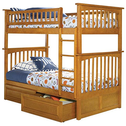 Atlantic Columbia Bunk Bed with 2 Raised Panel Bed Drawer...