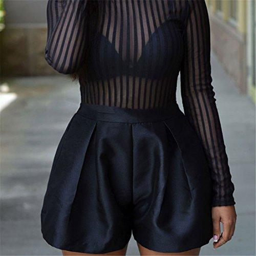 Femmes Sexy Black Stripes Col haut Perspective Jumper pantalons courts Bodysuit