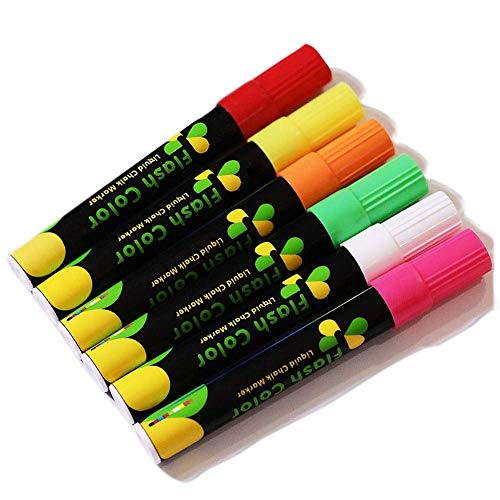 Liquid Chalk Markers, 6 Highlighters Fluorescent Marker, Dry Erase Glowing Marker Pen, Art Chalkboard Labels, Neon Colors Led Writing Board Markers - for Writing on Windows and All Non-porous Surfaces