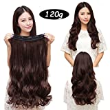 MONOTELE Fashion straight 23 3/4 full head Clip In Hair Extensions with 5 clips long (Dark brown Curly) by MonoTele