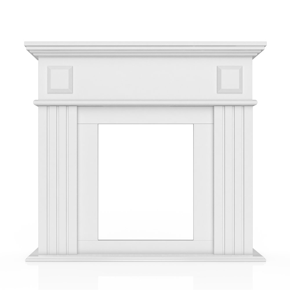 OSKAR Kaminumrandung im Landhaus Stil 100 x 109 cm in Weiß - Umbau Sims Rahmen Konsole Kamin Elektrokamin Gelkamin