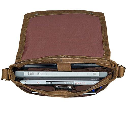 Borsa A Tracolla Vintage Stilord Realizzata In Vera Pelle Di Vacchetta, Con Scomparto Per Laptop, Tracolla Staccabile In Pelle Unitasche Marrone Chiaro