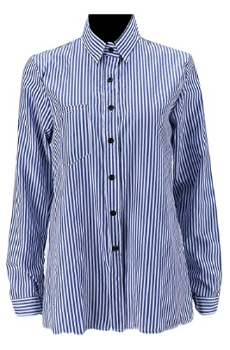 Esast Women's Vertical Stripes Slim Long-Sleeved Casual Button up Lapel Top Shirt Blue (Button Up Long Sleeved)