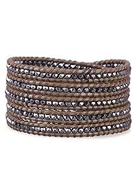 KELITCH Gun Black Mix Beaded 5 Wrap Bracelets Unique Handmade Beaded Button Lock Leather