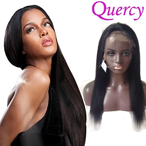 Quercy Hair Indian Remy Hair Hand Made Lace Front Wig Black Color Straight Style 130 Denisity For Black Women(14inch) (Hair Remy Wigs Indian)