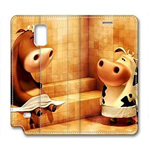 Samsung Galaxy Note 3 Case, iCustomonline Cows In The Sauna Leather Cover for Samsung Galaxy Note 3 N9000 Premium Soft PU Leather Wallet Cover - Verizon, AT&T, Sprint, T-Mobile, International, and Unlocked with Black PC Hard Case Inside for Samsung Galaxy Note 3