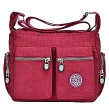 Tibes Fashion Women Nylon Shoulder Bag Waterproof Crossbody Purse Organize Travel Messenger Bag