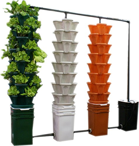 Large 5 Tier Vertical Garden Tower 5 Black Stackable Indoor