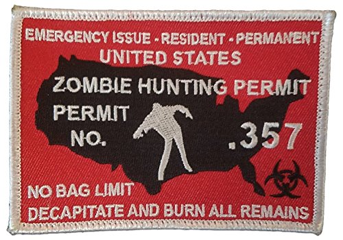 "[Single Count] Custom, Cool & Awesome {4.25"" x 3"" Inches} Rectangle Emergency Issue Zombie Hunting Permit Decapitate And Burn All Remains Badge (Gaming) Hook Fastener Patch ""White, Black, & Red"""