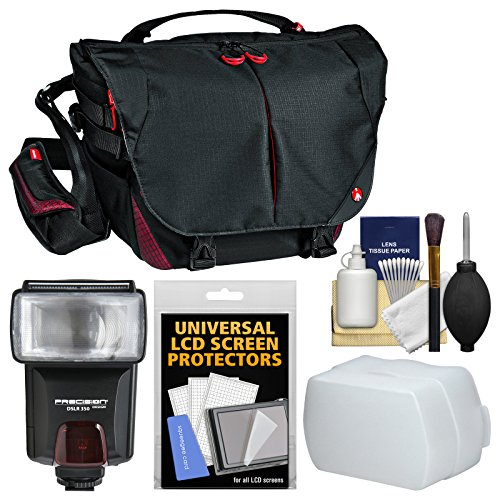 Manfrotto Pro Light Bumblebee M-10 DSLR Camera Messenger Bag with Flash + Diffuser + Kit -