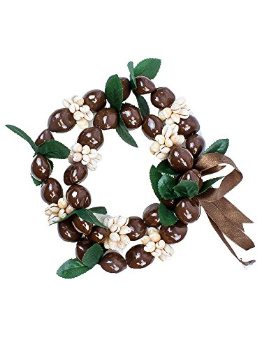 Barbra Collection Various Style of Kukui Nut Necklaces with Cowrie Shell (Brown) ()