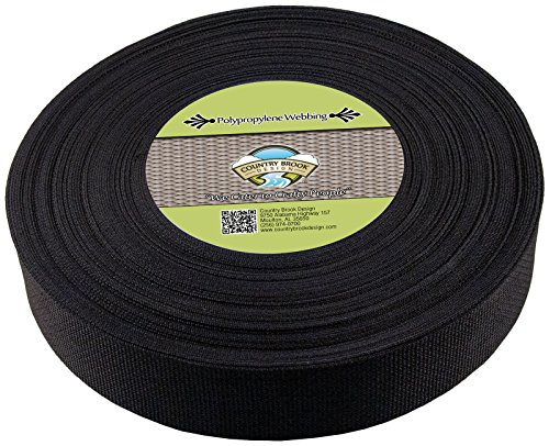Webbing Heavy Nylon - Country Brook Design | 2 Inch Black Heavy Polypropylene (Polypro) Webbing, 25 Yards