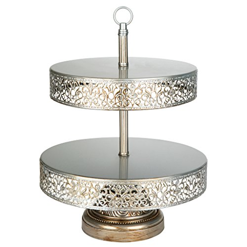 Collection Cake Plate (Victoria Collection Antique Silver 2 Tier Cupcake Stand, Round Metal Dessert Wedding Party Display Tower with Reversible Plates)