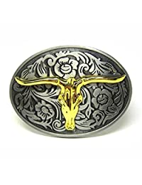 Rodeo Two-Tones Longhorn Bull Steer Belt Buckle Floral Etched Western Cowboy New