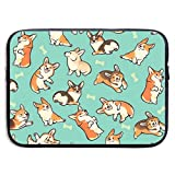 13-15 Inch Waterproof Gaming Laptop Sleeve for Office Yoga, Cartoon Cute Corgi and Bone Drawing Protective Vintage Briefcase Fit for Acer Dell Samsung Ect