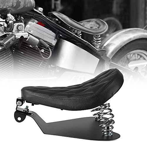Black Diamond Solo Driver Seat Springs Baseplate Base Plate Pan Bracket Mount Kit For Harley Sportster Fatboy Dyna Softail Chopper Bobber Custom Cafer V-ROD Street Bob Touring Honda Indian (Silver)
