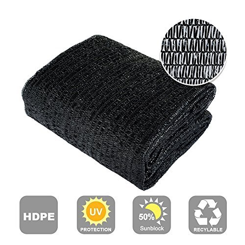 Agfabric 50 Sunblock Shade Cloth Cover with Clips for Plants 6.5 X 20 , Black
