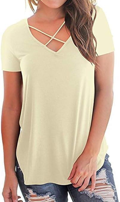 Primavera Verano Nueva Camiseta Cruzada De Manga Corta con Cuello En V Y Cuello En V para Mujer: Amazon.es: Ropa y accesorios