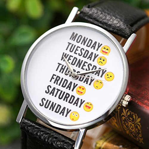 Top Plaza Fun Week Emoji Dial Non Scale Black PU Leather Band Fashion Analog Quartz Wrist Watch