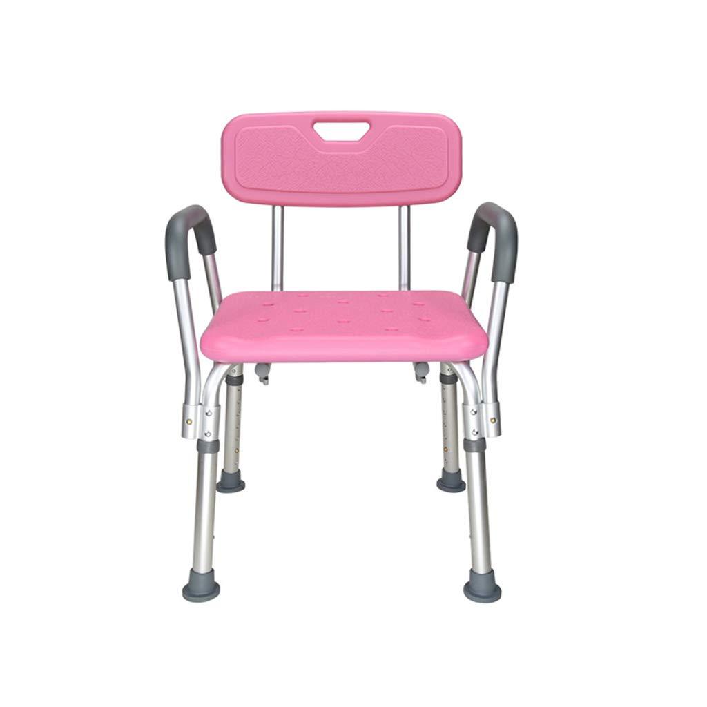 【セール】 ヘルスケアシャワースツール Pink) シャワースツールバスチェアアームレスト付きバスルームシート背もたれ付き調節可能な高さポータブル軽量アルミニウムノンスリップ高齢者障害妊娠中ベアリング200kg バスルームバススツール (色 : Pink) (色 Pink B07K2XDM2K B07K2XDM2K, belle belle:9157e53f --- arianechie.dominiotemporario.com