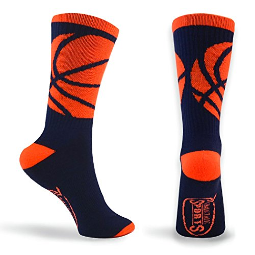 Youth Navy Blue Player - Basketball Sock by ChalkTalk SPORTS | Athletic Mid Calf Woven Socks | Basketball Wrap | Navy and Neon Orange