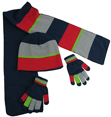 N'Ice Caps Kids Reversible Knitted Hat/Scarf/Magic Stretch Glove Accessory Set (3-6 Years, Navy/Silver/Neon Green/Red with Touchscreen)