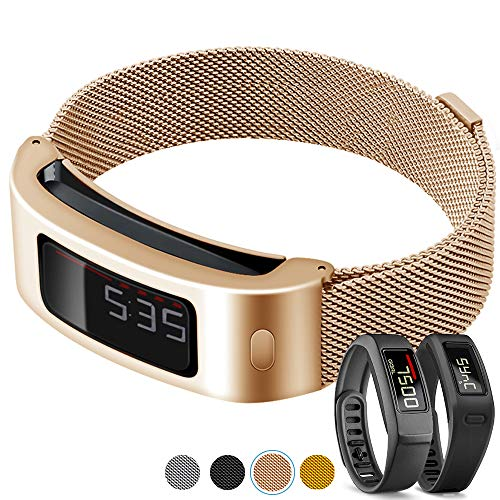C2D JOY Compatible with Garmin vivofit 1/2 Replacement Bands Activity Tracker Metal Case with Milanese Loop Band, Crafted from Stainless Steel Alloy with Custom Magnetic Closures - Rose Gold, L