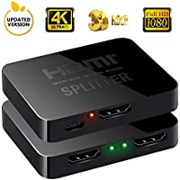HDMI Splitter 1 x 2, NewBEP 1 Input 2 Output HDMI Amplifier Switcher Box Hub Support 4KX2K 3D 2160p 1080p (One Input To Two Outputs)
