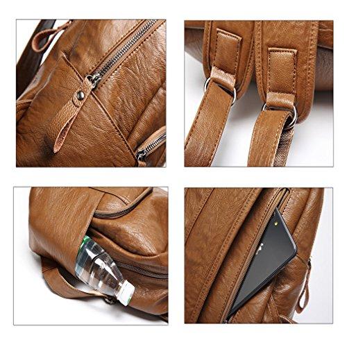 donna per resistente Bagleisure moda Orange borse da viaggio college spalla YANXH Orange pelle acqua zaino da capacità grande all' in xFqn8I17a
