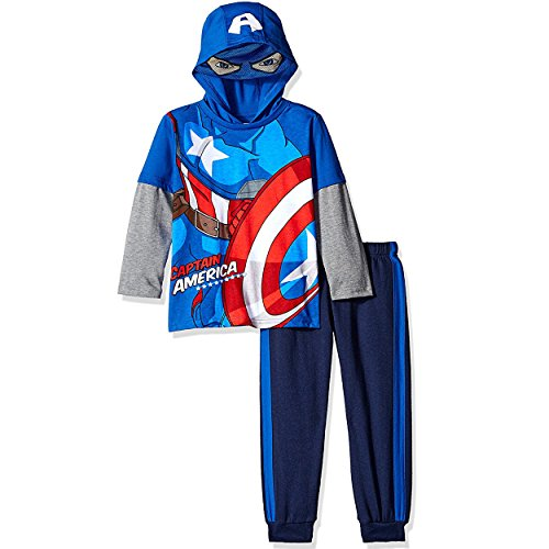 Marvel Toddler Boys' Captain America Or Spiderman Costume Hoodie and Pant Set, Blue, 3T (Captain America Hoodie With Mask compare prices)