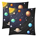 InterestPrint Custom 2 Pack Twinkling Night Sky with Stars and Solar System Throw Pillowcase 18x18 Twin Sides, Orbits of the Sun Earth Mars Cotton Zippered Cushion Pillow Case Covers Set Decorative