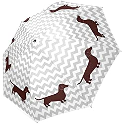 InterestPrint Stylish Chevron Dachshund Foldable Umbrella