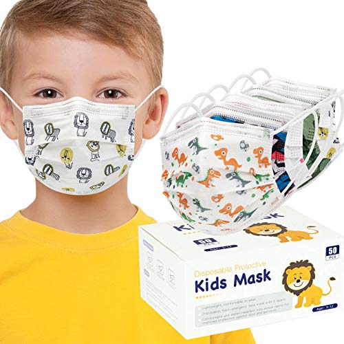 50PCS Child Face Mask 3Layers Non-Woven Safety Mask Anti Dust with Earloop