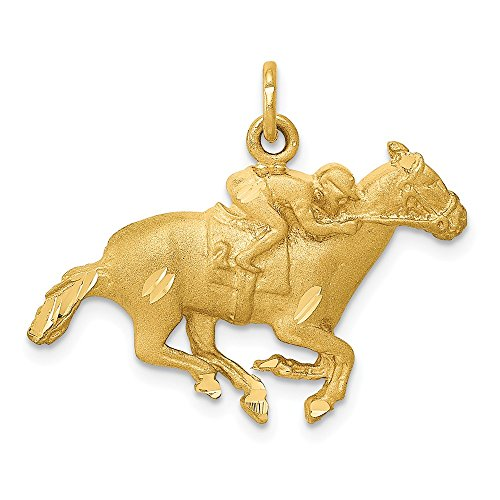 14k Yellow Gold Sand Blast Horse Jockey Pendant Charm Necklace Animal Sport Man Fine Jewelry Gift For Dad Mens For Him